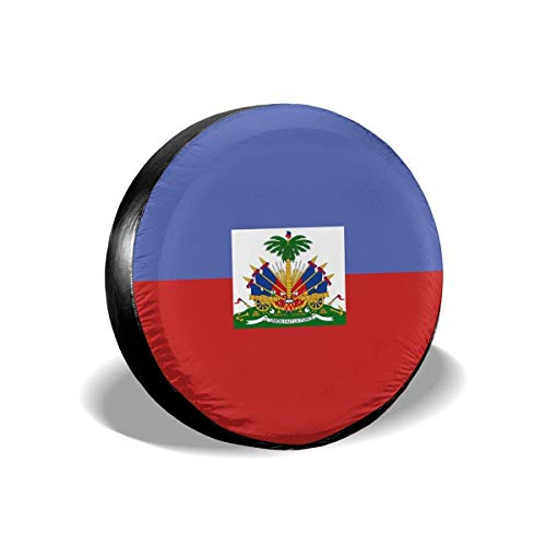 ABLnewitemFrameFF Tire Cover Haitian Flag Potable Polyester Universal Spare Wheel Tire Cover Wheel Covers for Jeep Trailer RV SUV Truck Camper Travel Trailer Accessories