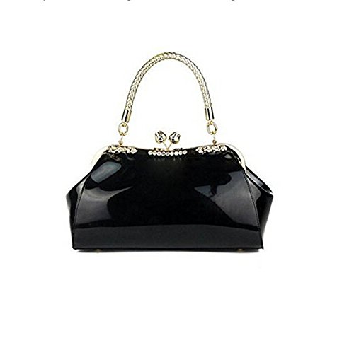 H.Tavel Lady Woman Work Place Small Patent Leather Evening Party Clutch Bag Wallets Purse by H.Tavel