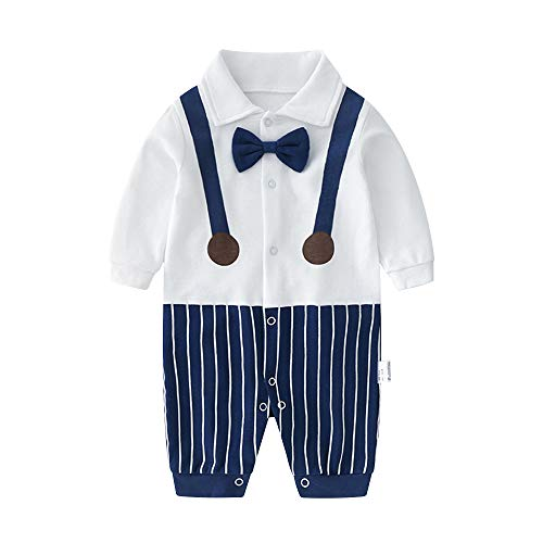 Clothes Dressy Boy Baby - Baby Boys Gentleman Outfit Suits,Toddler Infant Long Sleeve Onesies + Gray Pant + Bowtie Clothing Set(Suspenders 3-6 Month)