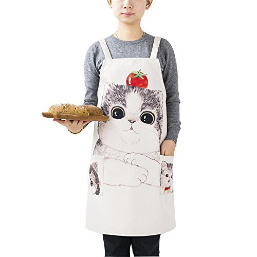 MR FANTASY Linen Kitchen Bib Apron Adult with H Strap 2 Pockets Cat Funny for Women Baking Cooking Drawing Washable Stain Resistant Beige 28x33 Inches (Adult Pigment Funny)