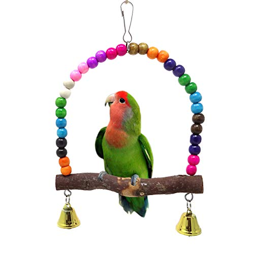 HONBAY Wooden Bird Swing Perch Parrot Hanging Toy for Small and Medium-Sized Birds