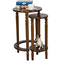 Round Wood End Table Set of 2 for Small Spaces Coffee Accent Nesting Tables (Medium Brown)