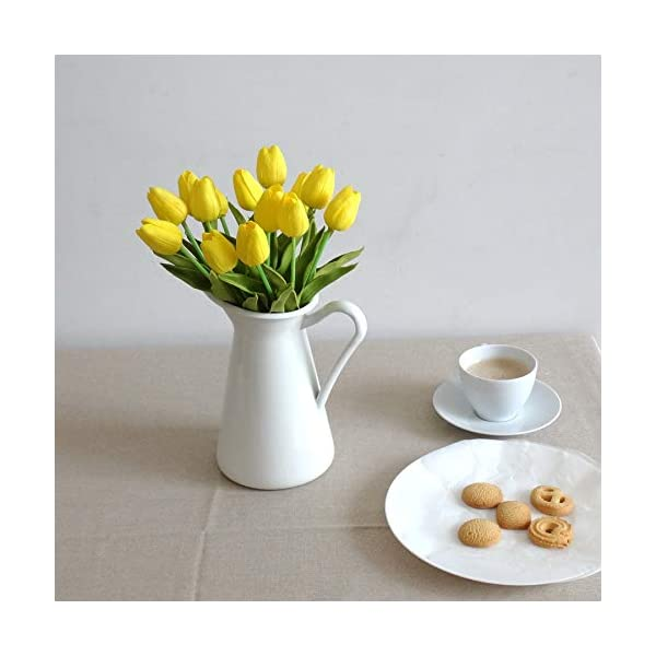 Mandy's 20 Pcs Yellow Artificial Tulip Flowers 14″ for Party Home Wedding Decoration