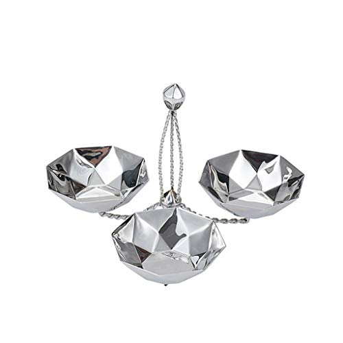 Deluxe Fruit Dried Tray (JFFFFWI Creative Stainless Steel Sub-Grid Fruit Plate Diamond Dessert Holder,KTV Silver Fruit Basket Deluxe Dried Fruit Plate Snack Tray (Color : B))