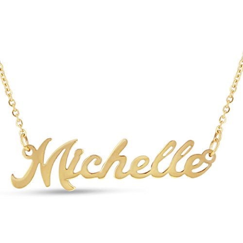 (Beam Reach Michelle Nameplate Necklace in Gold Tone)