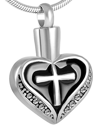 Laceta's Keepsakes Cross With Heart Cremation Jewelry Urn Necklace Memorial Ashes Holder - Cross Glasses Heart My