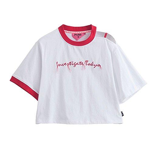 DYY T-shirt da donna girocollo a manica corta con scollo a V a maniche lunghe color rosso estate,bianca