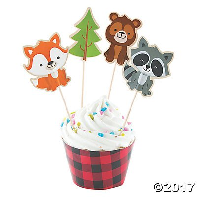 Fun Express Inc. Woodland Party Cupcake Wrappers & Picks - Makes 50 (Camp Cupcake)