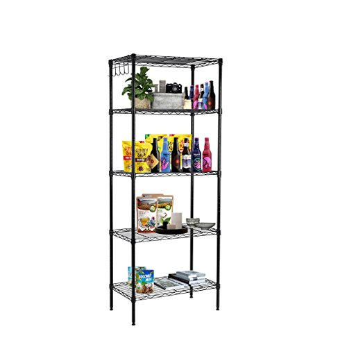 LANGRIA 5 Tier Wire Storage Rack Shelving Unit for Organization with Adjustable Leveling Feet 275 lbs Weight Capacity, 23.6''(W) x 13.8''(D)x - Storage Wire Units