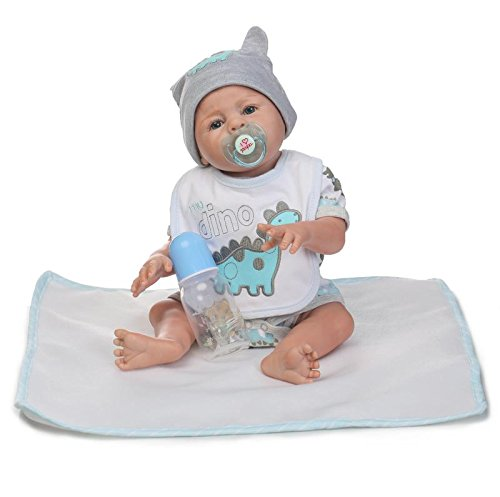 Reborn Dolls NKol Lifelike Newborn Realistic Baby Doll (Silicone Full Body, Waterproof), 20inch 50cm Weighted Baby Girl or Boy Anatomically Correct Toys (Gray Boy (Reborn Doll Clothes)
