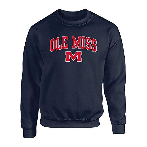 Elite Fan Shop Mississippi Ole Miss Rebels Crewneck Sweatshirt Navy - ()