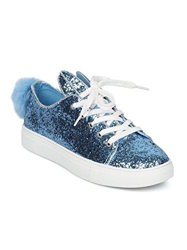 Wild Diva Women Glitter Lace up Bunny Ear and Tail Sneaker GF98 - Blue Glitter (Size: 7.5) (Diva Glitter)
