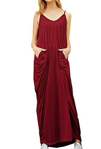 Relipop Women's Sleeveless Pockets Casual Loose Tank Summer Dress (Medium, Wine Red)