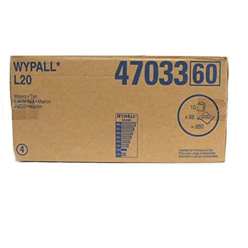 (Wypall 47033 L20 General Purpose 2-Ply Wipers in Brown, 10 Boxes (88 per)