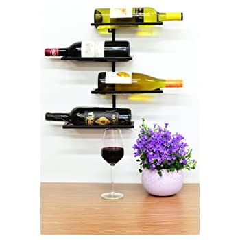 Superiore Livello Pisa 4 Bottle Wall Mounted Wine Rack. Industrial Style Living Wall Mounted Metal Wine Storage Rack. Wine Bottle Storage Rack .