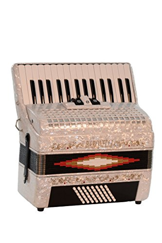 30 Keys 48 Bass Button White Diatonic Piano Accordion Key of SOL G,C,F, with Hardshell Case, Padded Adjustable Leatherette Shoulder Straps & DirectlyCheap(TM) Translucen Blue Pick by Directly Cheap