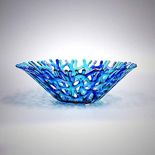 Tall Lacy Glass Art Sea Coral Fruit Bowl in Turquoise Blue Lavender and Aqua Green -