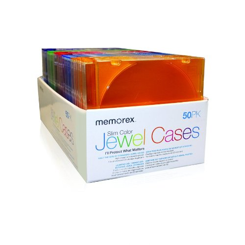Cd Jewel Case Design - Memorex 50-pack Slim CD Jewel Case (5mm)- Assorted Colors (Discontinued by Manufacturer)