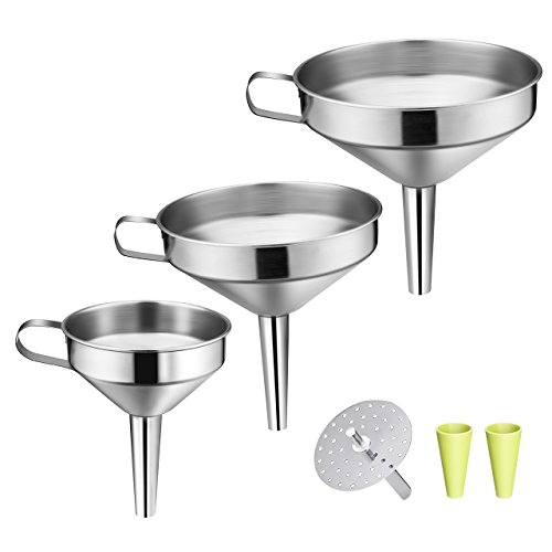 OMorc Strainer Funnel Set, 3 Pack Stainless Steel Funnels Set with Handle Design and Removable Strainer