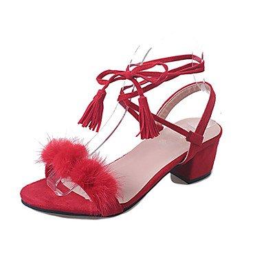 LvYuan Tacón Bajo-Confort-Sandalias-Vestido Informal-PU-Negro Rojo Blanco Red
