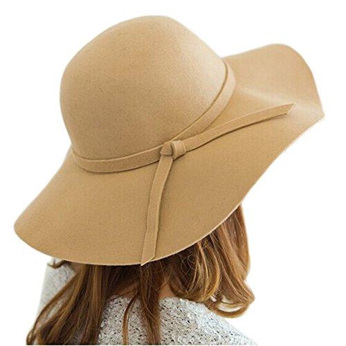 Itopfox Women's Vintage Felt Hat Sun Protection Floppy Big Brim Bowler Hat Camel Women Bowlers