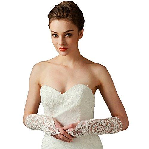 Women's Fingerless Sequins Rhinestone Ivory Bridal Lace Wedding Gloves (Free Size, Ivory4)