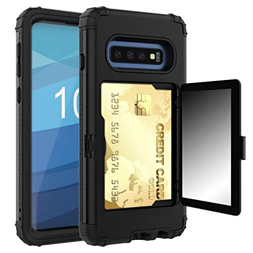 Gorilla Gadgets Shockproof Heavy Duty Rugged 3 in 1 Protective Wallet Case Compatible with Samsung Galaxy S10, with Kick Stand, Hybrid Hard PC Cover, Bumper, Card Slot Holder, Mirror, Black -