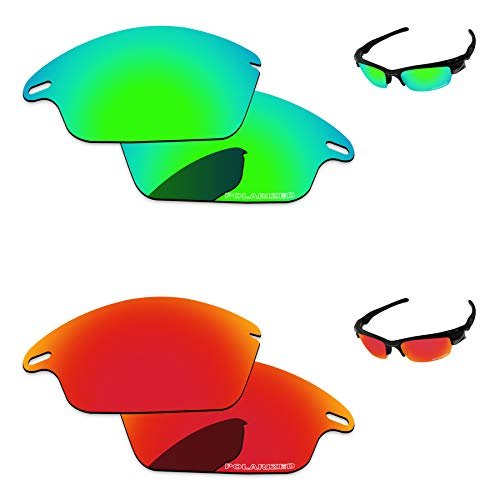 - PapaViva Replacement Lenses for Oakley Fast Jacket Fire Red & Bluish Green