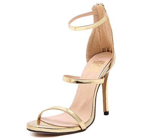Mujer Sandalias Nuevo Sexy Stilettos Señoras Delgado Alto Tacón Zapatos Mirar furtivamente Dedo del pie Negro Fiesta Noche gold