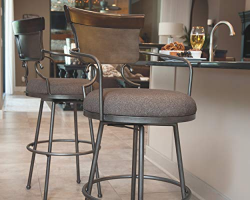 Ashley Furniture Signature Design – Moriann Swivel Barstool – Counter Height – Vintage Casual – Two-tone Finish