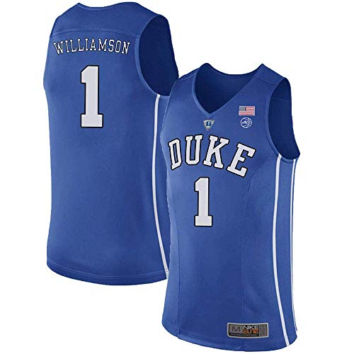 Stitched Blue Jersey - MitChell & Ness Duke Blue Devils Zion Williamson 1# Stitched Men's College Basketball Jersey (Blue, XL)