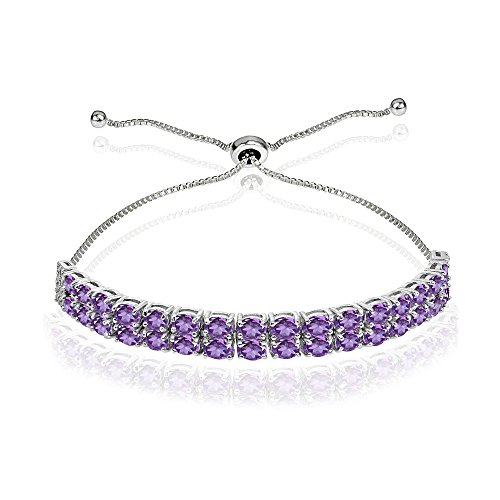 Sterling Silver African Amethyst Oval-Cut Two Row Adjustable Tennis Bracelet