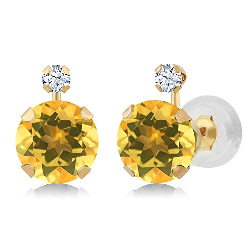 Gem Stone King 14K Yellow Gold Round Yellow Citrine and White Created Sapphire Earrings 1.48 Ctw Citrine & Sapphire Round Earrings