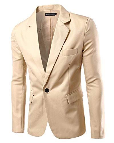 Slim Blazer Giacca Alla Fit Kaki Giacche Da Cotone Chic Lunga Manica Uomo Basic Moda In Business YqfxzwYn
