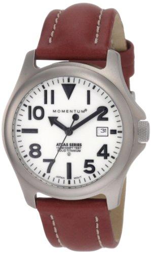 Momentum Men's 1M-SP00W3 Atlas White Dial Brown Nautica Leather Watch ()