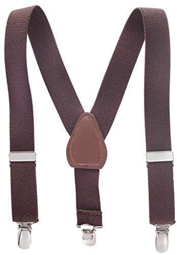 Suspenders for Kids - 1 Inch Suspender Perfect for Tuxedo - Brown (22