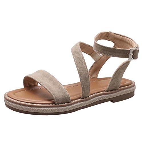 TAOFFEN Women Comfy Ankle Strap Sandals Apricot ISjHnM