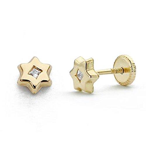 18k boucles d'oreilles en étoile d'or zircone 6mm. [AA0286]