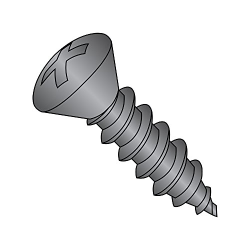 Steel Sheet Metal Screw, Black Oxide Finish,  82 degrees Oval Head, Phillips Drive, Type AB, #10-16 Thread Size, 1'' Length (Pack of 100) by Small Parts