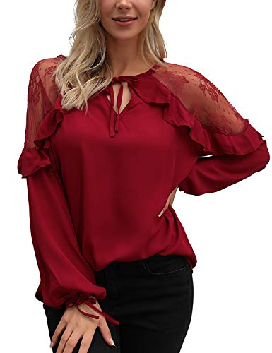 Blooming Jelly Womens Red Lace Top Tie V Neck Long Sleeve Shirt Ruffles Loose Elegant Blouse (Small, Red)