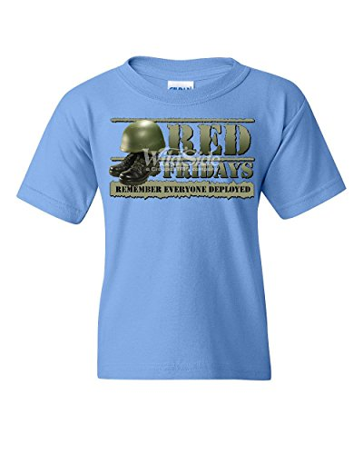 Red Fridays Remember Everyone Deployed Youth T-Shirt Support US Troops Kids Tee Light Blue M