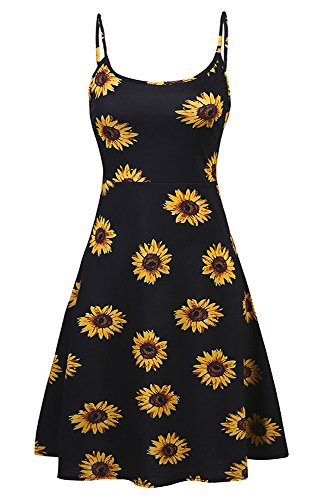 Poetsky Womens Sleeveless Adjustable Spaghetti Strap Backless A-Line Floral Midi Dress