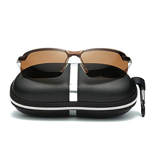 MUMUWU Polarized Lens Wellington Sunglasses Set Unisex Fishing Running Golf Driving Unisex (Color : Brown, Size : Free)