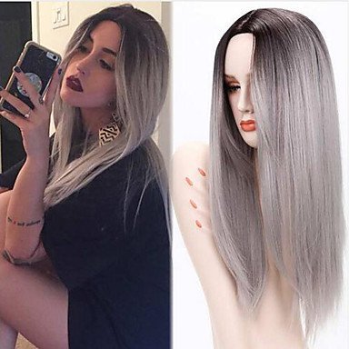 Peluca sintética larga lisa gris verde Ombre pelo oscuro raíz media parte natural peluca disfraz
