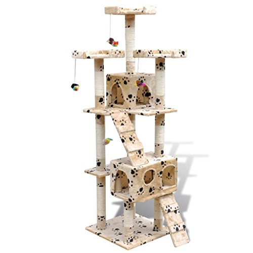 vidaXL Cat Tree Scratching Post 67″ 2 Condos Beige w/ Paw Prints Tower Play Gym Toy