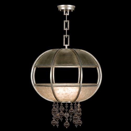 Fine Art Lamps 600240-2, Singapore Moderne Silver Pendant, 160 Watt, Muted Silver Leaf