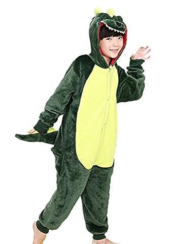 Horcute Unisex-Children Animal Cartoon Cosplay Kigurumi Onesie Pajamas ,Greendinosaur-125