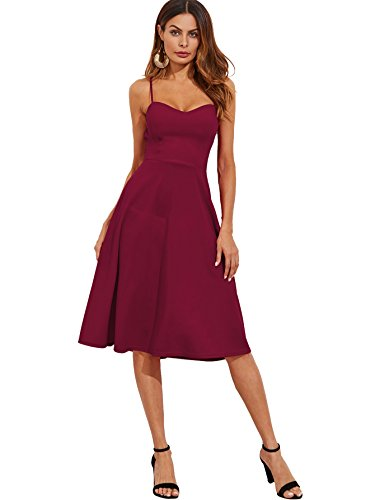Floerns Women's Spaghetti Straps Backless Flared Cocktail Party Dress Purple (Cocktail Dresses Party Dresses)