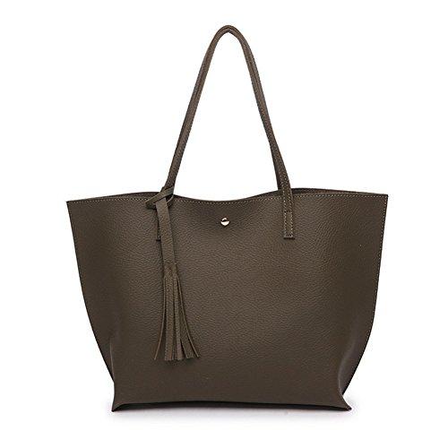 Oudan Bolso de cuero del color sólido de las señoras que cuelga las borlas la bolsa de asas Bolso de hombro de la capacidad grande viaje al aire libre mujer (Color : Negro, tamaño : Un tamaño) Verde