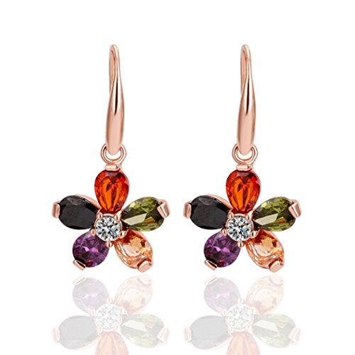 Price comparison product image Duo La Colored Flowers Cubic Zirconia 18k Rose Gold Plated Lady Dangle Earrings